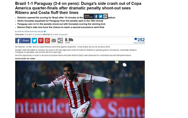 Daily Mail comenta derrota brasileira