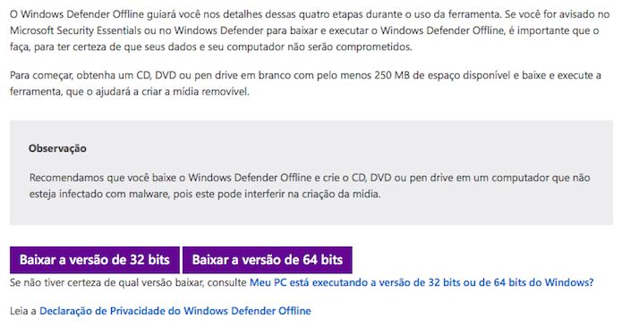 Baixe o Windows Defender Offline (Foto: Reprodução/Helito Bijora)
