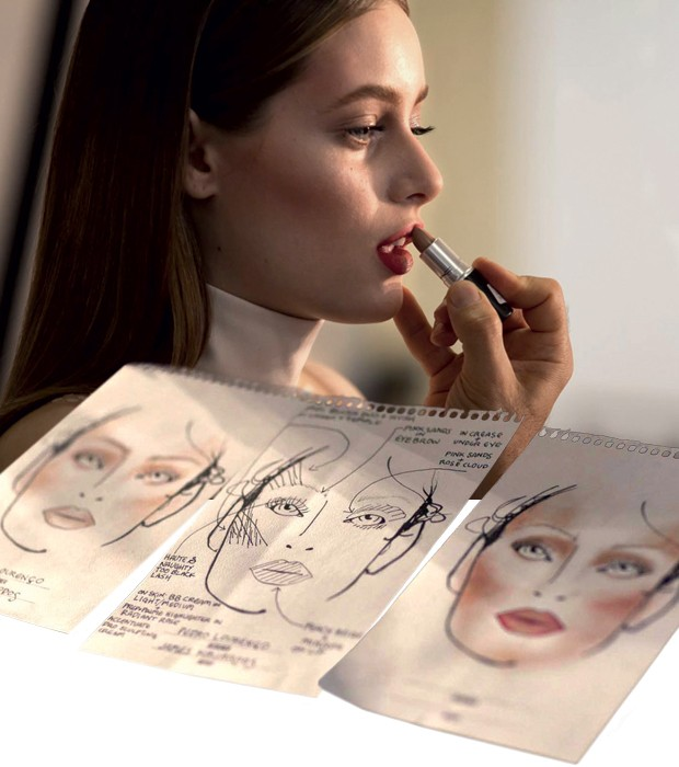 A modelo brasileira Thairine Garcia, rosto da campanha, e face charts da coleção (Foto: Reprodução)