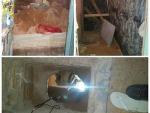 Detentos colocaram obstáculos para que a polícia não encontrasse o túnel (Foto: Arquivo pessoal)