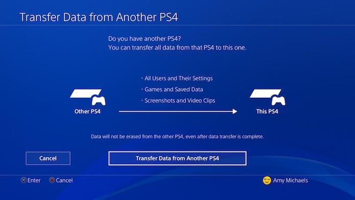 Faça o login no console novo e pressione a opção de transferir dados (Foto: Divulgação/Sony)