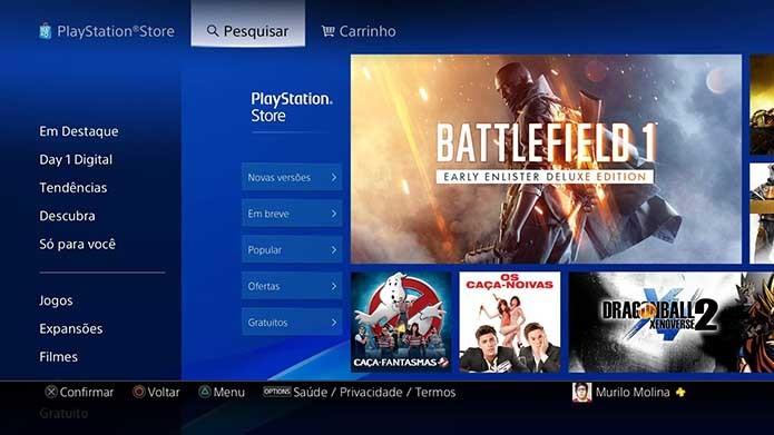 Busque o Battlefield 1 na loja da PSN  (Foto: Reprodução/Murilo Molina)