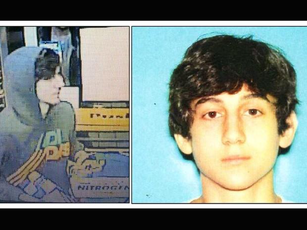 Imagem fornecida pelo Centro de Inteligência Regional de Boston mostra Dzhokhar A. Tsarnaev, identificado pelo FBI como suspeito número 2 nos ataques à maratona. As autoridades dizem que Tsarnaev ainda está foragido. (Foto: Boston Regional Intelligence Center/AP)