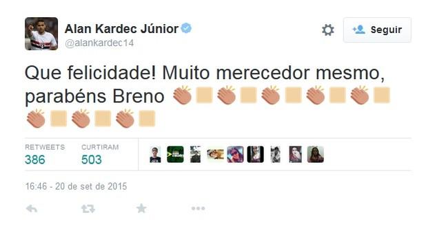Alan Kardec Twitter Breno (Foto: Reprodução / Twitter)