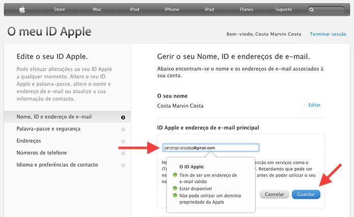 Vinculando um novo endereço de e-mail a uma Apple ID (Foto: Reprodução/Marvin Costa)