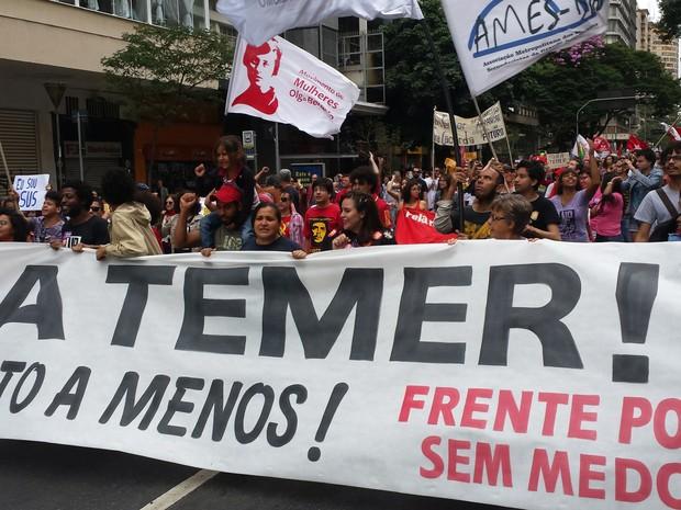 Protesto pede saída de Michel Temer da Presidência e a volta de Dilma Rousseff, em Belo Horizonte (Foto: Humberto Trajano/G1)