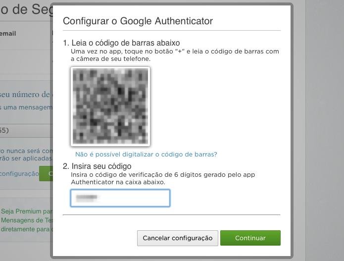 Digite o código gerado pelo seu celular ao escanear o código QR (Foto: Reprodução/Helito Bijora)