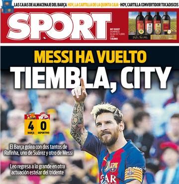capa do jornal sport, messi (Foto: Divulgação)