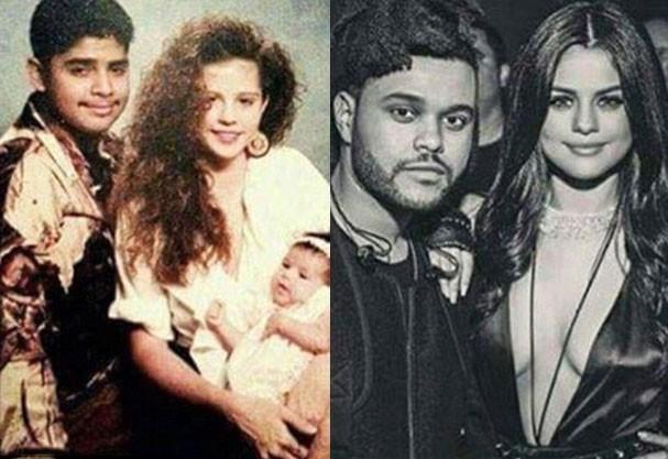 Os pais da Selena em foto tirada nos anos 90 comparada à cantora e The Weeknd aos 24 e 26 anos, respectivamente (Foto: Reprodução Instagram)