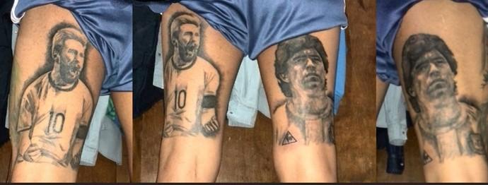 Tatuagem Messi e Maradonai  (Foto: Reprodução/AFA)