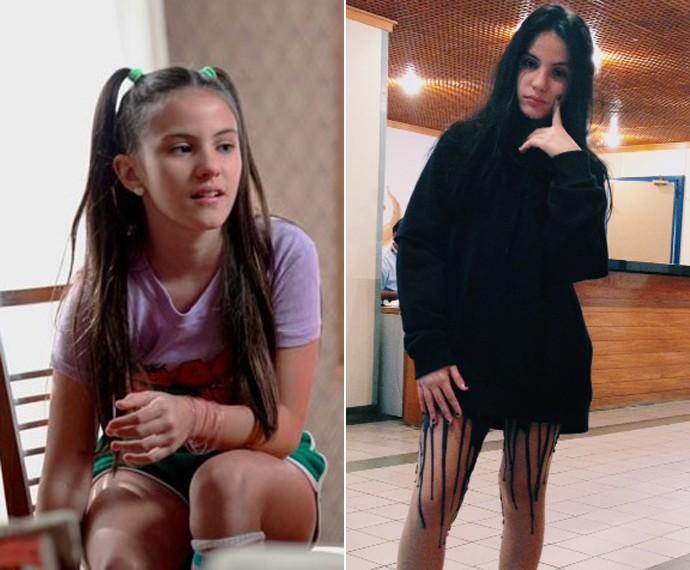 Giovanna Rispoli como Claudia, em 'Boogie Oogie' e caracterizada como Jojô para 'Totalmente Demais'  (Foto: Raphael Dias/Gshow/Arquivo pessoal)