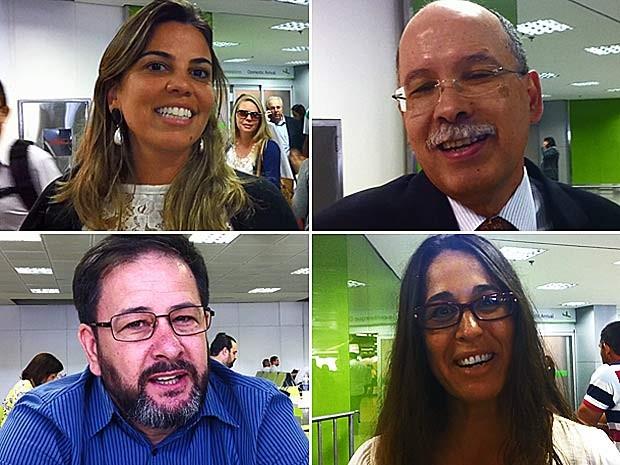 Passageiros do 'voo da premonição' ao desembarcarem em Brasília na manhã desta quarta-feira (26) (Foto: Isabella Formiga/G1)