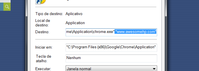 awesomehp atalho navegador