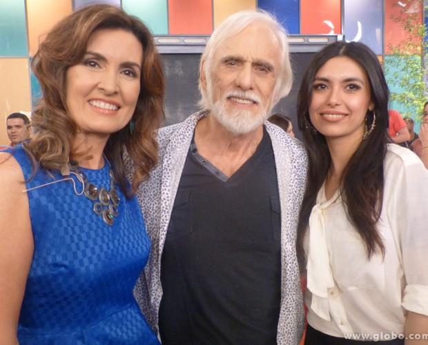 Fátima recebeu em seu programa o ator Francisco Cuoco e a namorada Thais (Foto: Encontro com Fátima/TV Globo)