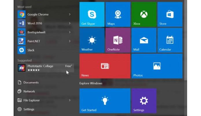 Windows 10 começa a exibir apps sugeridos no Iniciar, como um anúncio da web (Foto: Reprodução/Beta News)