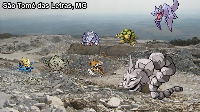 Pokémons de Pedra aparecem em pedreiras em Pokémon Go, mas isso não é nada prático (Foto: Reprodução/Rafael Monteiro)
