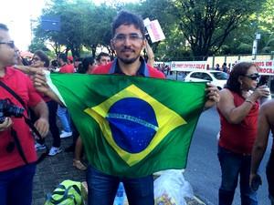 Ycaro Kallyo veio de Caicó para participar do ato em Natal (Foto: Fernanda Zauli/G1)