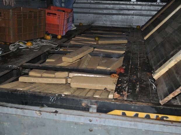 Tabletes de maconha estavam escondidos na caçamba do veículo (Foto: Polícia Federal/Divulgação)