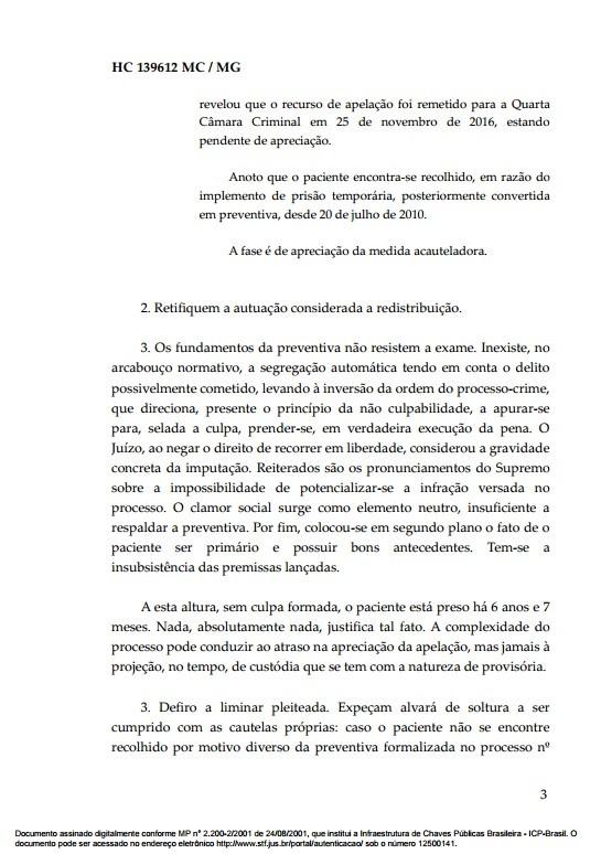 Documento Habeas Corpus goleiro Bruno 3 (Foto: Reprodução)