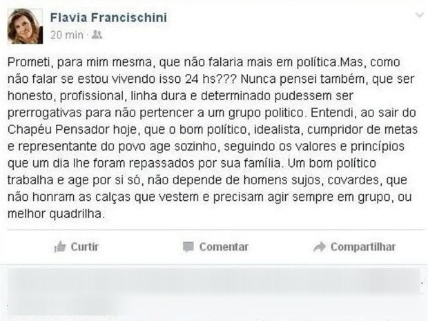 Post feito pela mulher de Fernando Francischini feito nesta semana no Facebook (Foto: Reprodução Facebook)