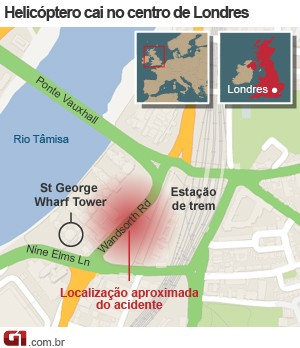 mapa londres queda helicóptero 16/1 versao 2 (Foto: 1)