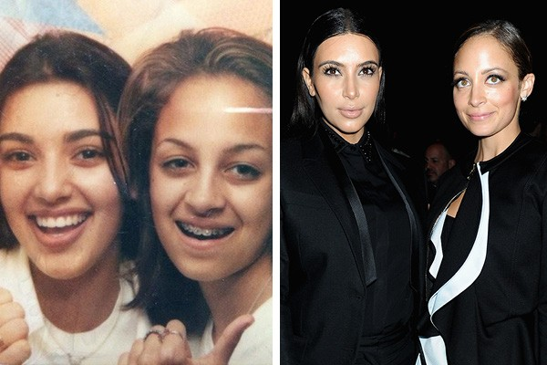 Kim Kardashian e Nicole Richie com 13 anos e hoje em dia (Foto: Instagram / Getty Images)