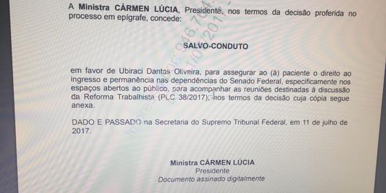 Carmen Lúcia autoriza sindicalista a ingressar no Senado (Foto: Reprodução)