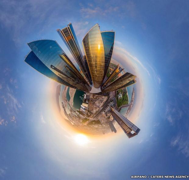 Prédios dos Etihad Towers, em Dubai, nos Emirados Árabes Unidos (Foto: AirPano/Caters News)