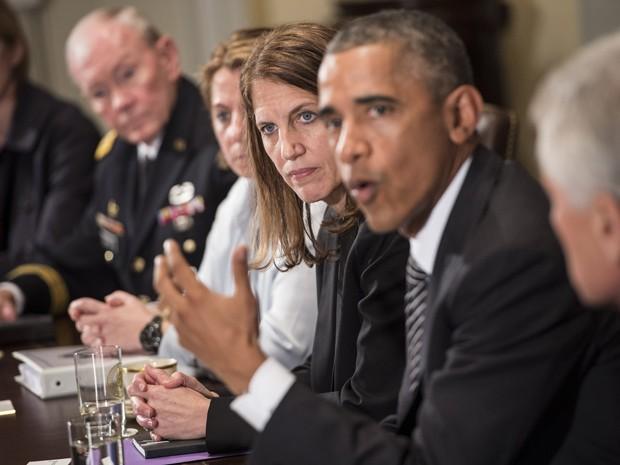 Obama fala à imprensa após reunião sobre ebola nesta quarta-feira  (Foto: AFP Photo/Brendan Smialowski)