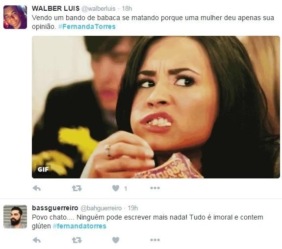 Internautas defendem a opinião de Fernanda Torres (Foto: Reprodução/Twitter)