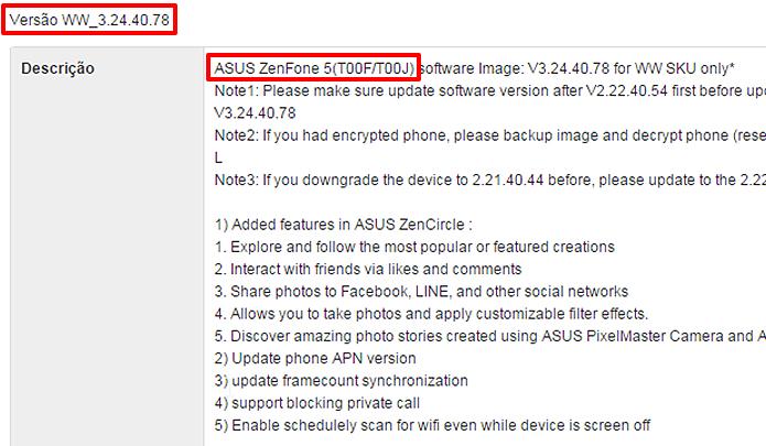 Procure no site da Asus pelos mesmos dados que você encontrou em seu celular. (Foto: Reprodução/Alessandro Junior)