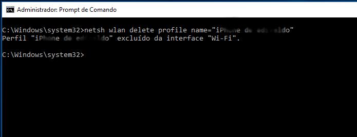 Apagando um perfil de rede sem fio armazenado no PC (Foto: Reprodução/Edivaldo Brito)