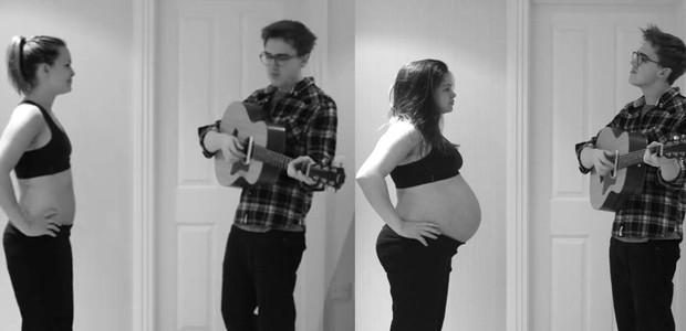 Casal registra, em vídeo sensível, 9 meses de gestação
