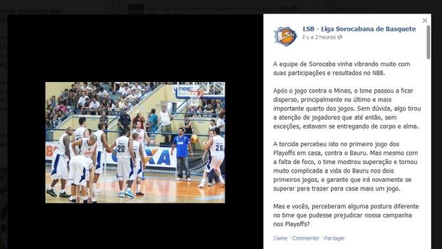 Liga Sorocabana - facebook (Foto: Reprodução / internet)