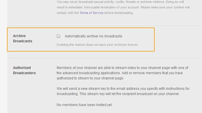 Passo 4: Marque a opção Archive Broadcasts. (Foto: Reprodução)