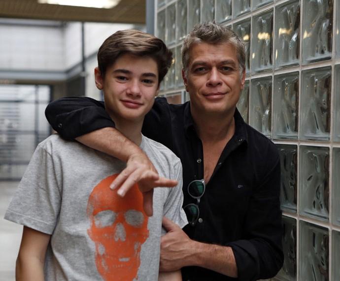 João e Fábio Assunção nos bastidores do 'Encontro' (Foto: Ellen Soares/Gshow)