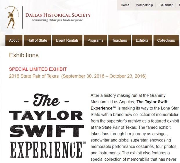 Exposição de Taylor Swift ficará aberta de 30 de setembro a 23 de outubro em Dallas (Foto: Reprodução)