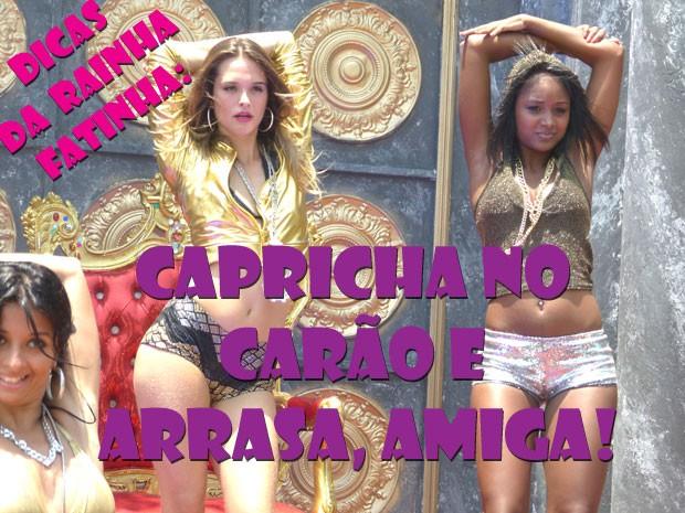 KKKKKKK Dicas da Rainha Fat pra quem quer causar na balada! Aprende aê, glr! (Foto: Malhação / Tv Globo)