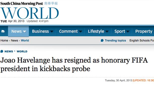 João Havelange destaque no jornal chinês 'South China Morning Post' (Foto: Reprodução)