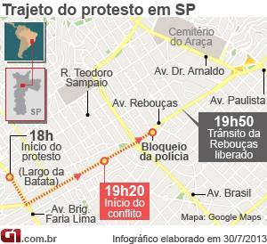 Mapa da manifestação na Avenida Rebouças, em São Paulo, contra o governador Geraldo Alckmin (Foto: G1)