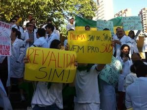 Protesto de médicos em Fortaleza (Foto: Gabriela Alves/G1)