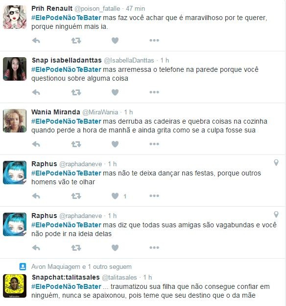 Usuárias brasileiras protestam contra abuso psicológico em mulheres (Foto: Reprodução/Twitter)
