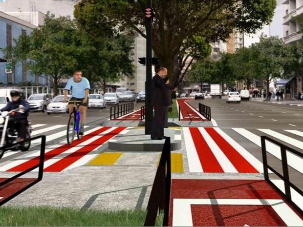 Perspectiva da ciclovia na Avenida Bernardino de Campos (Foto: Reprodução/CET)