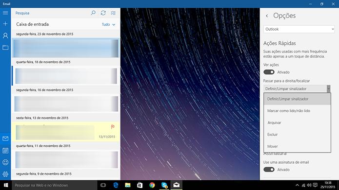 E-mail do Windows 10 pode ter ações rápidas personalizadas de acordo com vontade do usuário (Foto: Reprodução/Elson de Souza)