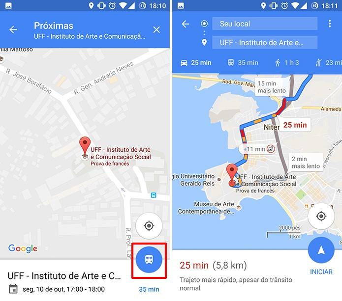 Google Maps para Android pode fazer sugestões de rotas para eventos da agenda (Foto: Reprodução/Elson de Souza)