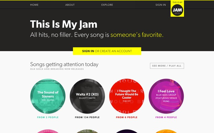 No This is My Jam o usuário só pode compartilhar uma música por semana com outros usuários do site (Foto: Reprodução/André Sugai)