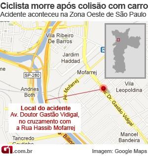 Mapa Zona Oeste, acidente com ciclista (Foto: Arte/G1)