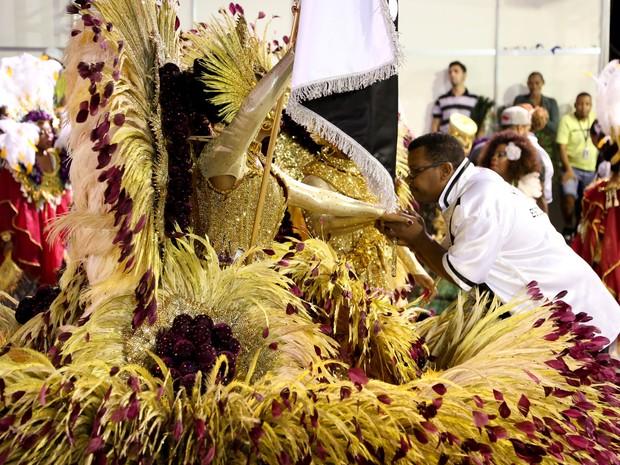 Casal de mestre-sala e porta-bandeira mostram fantasias luxuosas em desfile da Vai-Vai (Foto: Raul Zito/G1)
