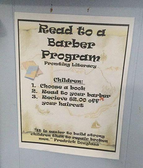 """Programa Leia para um Barbeiro – Promovendo a alfabetização  Crianças: 1.Pegue um livro 2.Leia para seu barbeiro 3.Receba 2 dólares de desconto """"É mais fácil construir crianças fortes do que consertar adultos quebrados"""" Fredrick Douglass (Foto: Reprodução / Facebook)"""