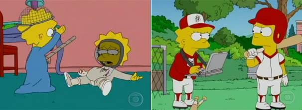 Depois de tentar esgrima com Maggie, Lisa vira a nova treinadora de basebol (Foto: Divulgação/TV Globo)